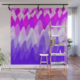 Abstract fantasy whimsical fanciful mountains in the shades of pink and purple design Wall Mural