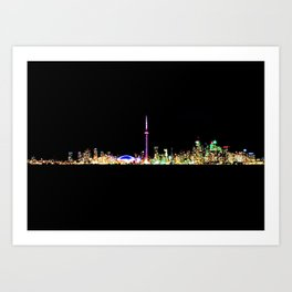 Toronto Skyline At Night From Centre Island Art Print