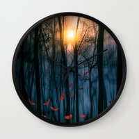 shining Wall Clocks featuring Red feather dance  (colour option) by Viviana Gonzalez