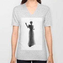 Untitled - charcoal drawing - female figure, spooky, atmospheric, ghostly Unisex V-Neck