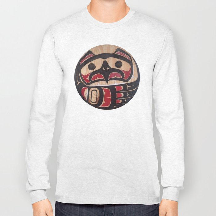 Northwest Pasific American Native Totem In Cut In Wood No. 5 Long Sleeve T-shirt
