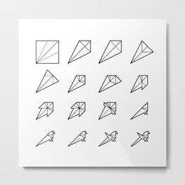 Origami Bird - Step by Step (Black) Metal Print