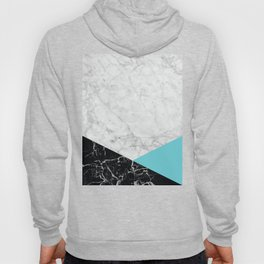 White Marble - Black Granite & Teal #871 Hoody