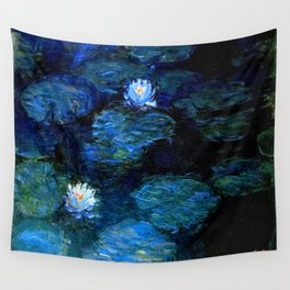 monet water lilies 1899 Blue teal Wall Tapestry
