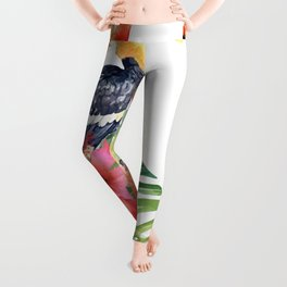 Exotic bird with hibiscus and birds of paradise Leggings