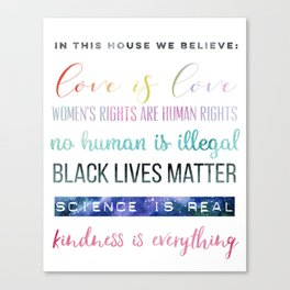 In This House We Believe... Resistance Art, Political Art Canvas Print