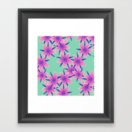 Green and pink surface pattern print Framed Art Print