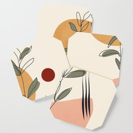 Minimal Line Young Leaves Coaster