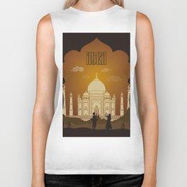 Agra vintage poster travel Biker Tank