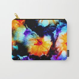 Colorful Abstract Flower Painting Orange Purple Black Carry-All Pouch