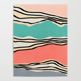 Modern irregular Stripes 10 Poster