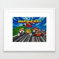 mario kart Framed Art Prints featuring Mario Kart by Ulyana Trots Art