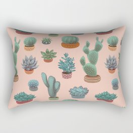 Potted Cacti and Succulents on Sahara Rose background. Rectangular Pillow