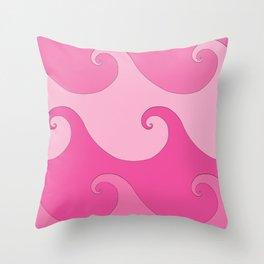 Spiral Waves Pink Throw Pillow