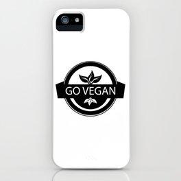 Monochrome Go Vegan Plant Design iPhone Case