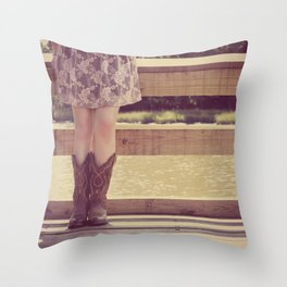 Thank God I Was Born a Country Girl Throw Pillow