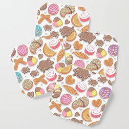 Mexican Sweet Bakery Frenzy // white background // pastel colors pan dulce Coaster