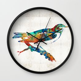 Colorful Bird Art - Sweet Song - By Sharon Cummings Wall Clock