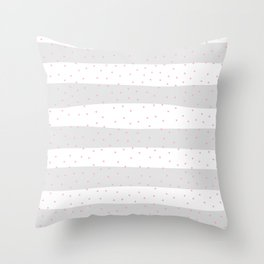Simple Christmas seamless pattern Hot Pink Confetti on Silver Grey and White Stripes Background Throw Pillow