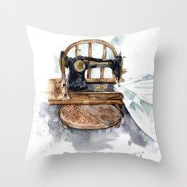 Craft Room Sewing Machine Artwork Throw Pillow