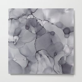 Alcohol Ink - Neutral Gray Metal Print
