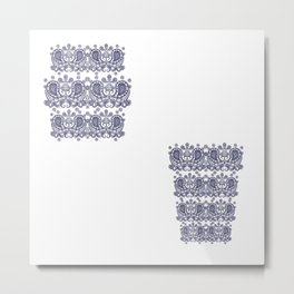 Mirrored Paisley Border White Metal Print