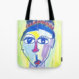 Crazy Face Blue Hair Tote Bag