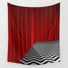 Twin Peaks Black Lodge with Chevron Floor and Red Curtains  Wall Tapestry