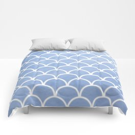 Beautiful textured large scallops in serenity blue Comforters
