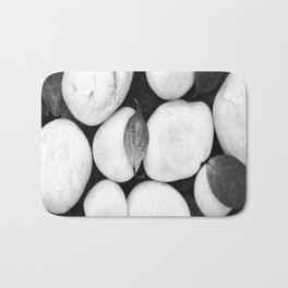 Zen White Stones On A Black Background #decor #society6 #buyart Bath Mat