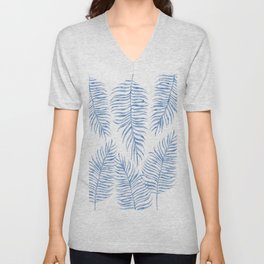 Fern Pattern Blue Unisex V-Neck