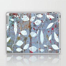 Silver leaf print, white leaves on textured marble Laptop & iPad Skin