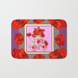 ORANGE POPPIES & PORCELAIN TEA SERVICE FLORAL ART Bath Mat
