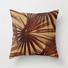 Burgundy and Coffee Tropical Beach Palm Vector Throw Pillow