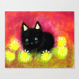 Black kitten Canvas Print