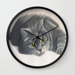 Grey Cat Painting Wall Clock