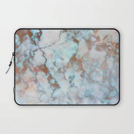 Rose Marble with Rose Gold Veins and Blue-Green Tones Laptop Sleeve