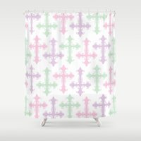 pastel goth Shower Curtains featuring Pastel Goth by Glitterati Grunge