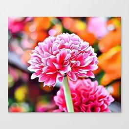 Pink Flowers Airbrush Artwork Canvas Print