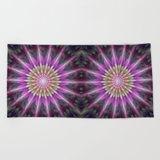 Bright shining fantasy flower Beach Towel