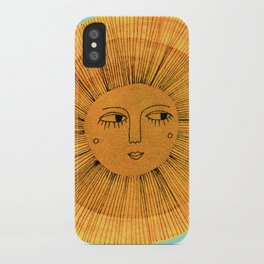Sun Drawing - Gold and Blue iPhone Case