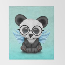 Cute Panda Cub with Fairy Wings and Glasses Blue Throw Blanket