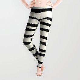 Tribal Stripes Black Earth on Ivory Cream Leggings
