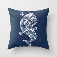 whale Throw Pillows featuring The White Whale  by Peter Kramar