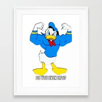 donald duck Framed Art Prints featuring Donald Duck Lifts by VeilSide07