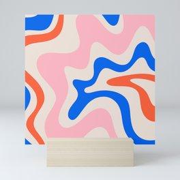 Retro Liquid Swirl Abstract Pattern Square Pink, Orange, and Royal Blue Mini Art Print