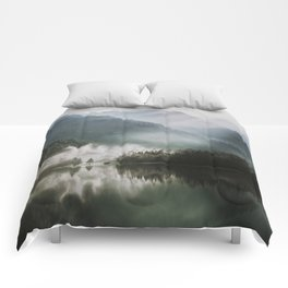 Dreamlike Morning at the Lake - Nature Forest Mountain Photography Comforters