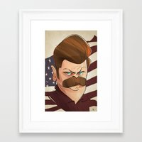 ron swanson Framed Art Prints featuring Ron Swanson by nachodraws