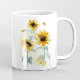 Sunflower drawing//Sunflowers watercolor// Sunflower decor Coffee Mug