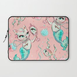 Merkittens with Pearls on blush Laptop Sleeve